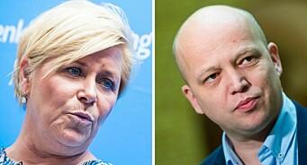 Siv Jensen mener norske journalister ikke gjør jobben sin - savner flere kritiske spørsmål til Senterpartiet