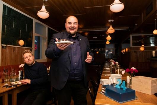 Ansvarlig redaktør og daglig leder Erik Waatland under Medier24s femårsfeiring i Oslo sentrum i 2019.