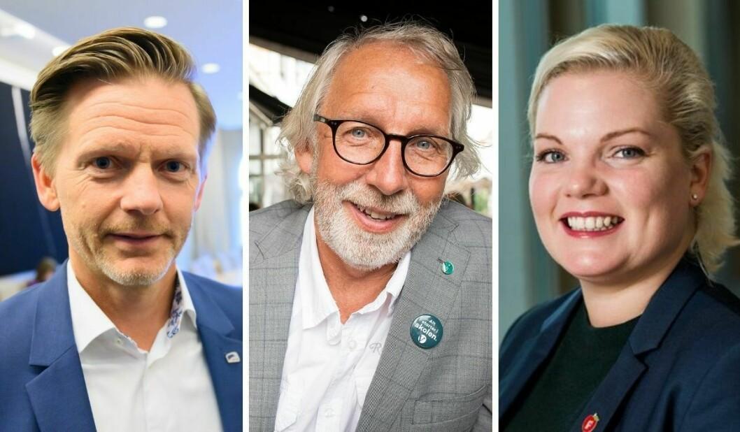 Mediepolitisk talsperson i Høyre, Tage Pettersen, mediepolitiske talsperson i Venstre, Carl-Erik Grimstad og medlem i familie- og kulturkomiteen for Frp, Silje Hjemdal.