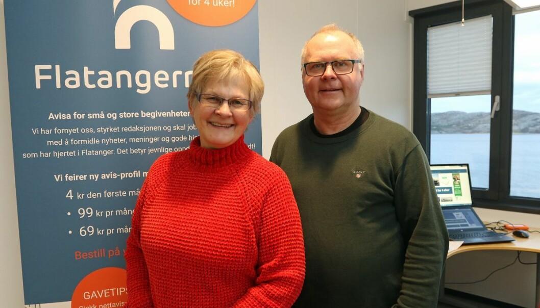 Hilde Tyldum Stordahl og Ove Magne Ribsskog på plass i nytt kontor i Havbruksparken. De skal drive Flatangernytt også i fortsettelsen. (Foto: Hanne Marie Tyldum Ribsskog)