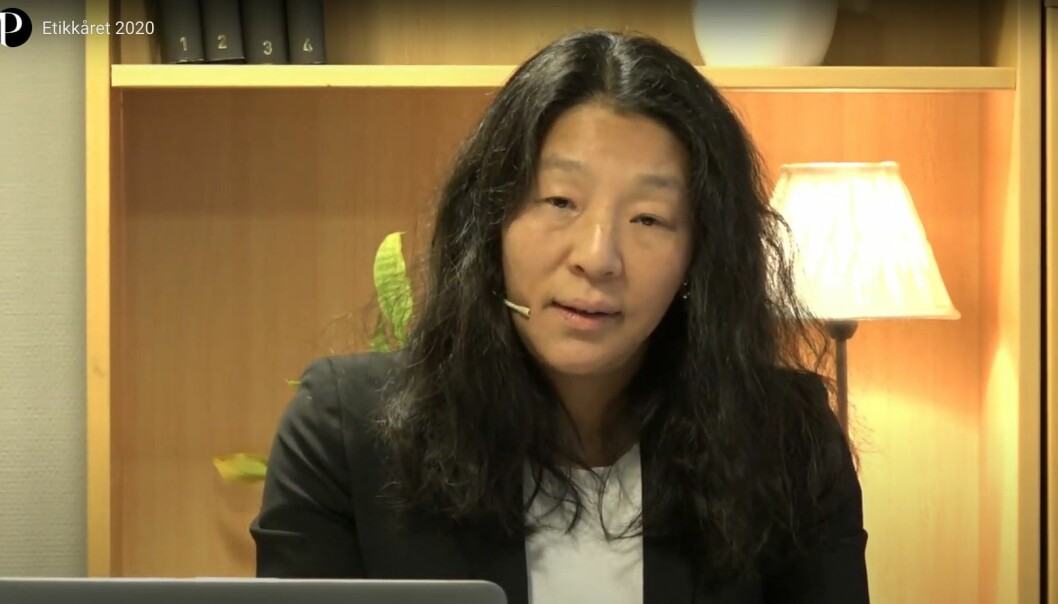 PFU-leder Anne Weider Aasen under fremleggingen av Etikkåret 2020