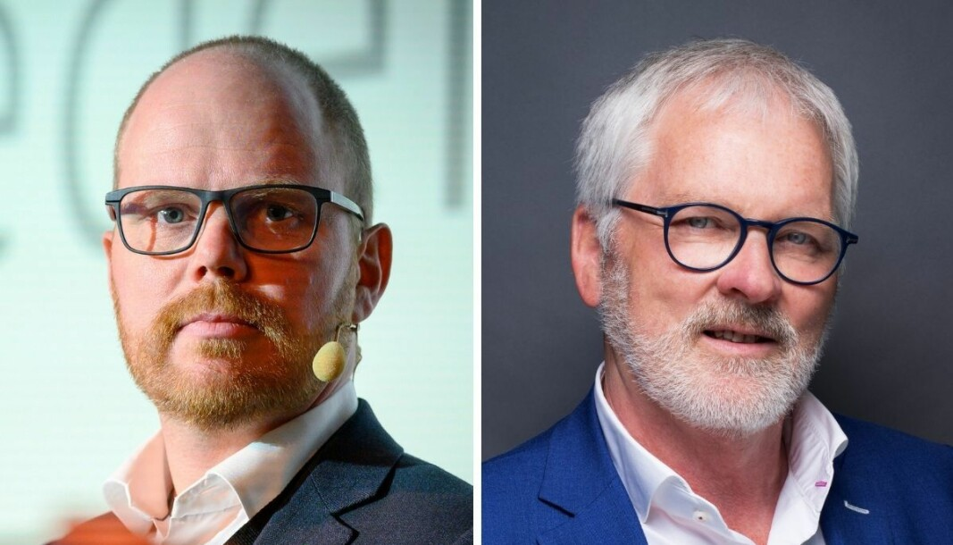 Ansvarlig redaktør og administrerende direktør i VG, Gard Steiro, og direktør for utgiverspørsmål og samfunnskontakt, Stig Finslo, i Amedia.