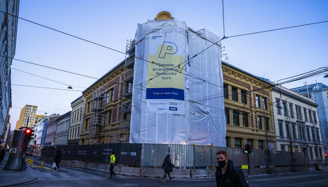 Oslo 20210127.  Pressens hus er under oppføring i Skippergata i Oslo. Foto: Håkon Mosvold Larsen / NTB