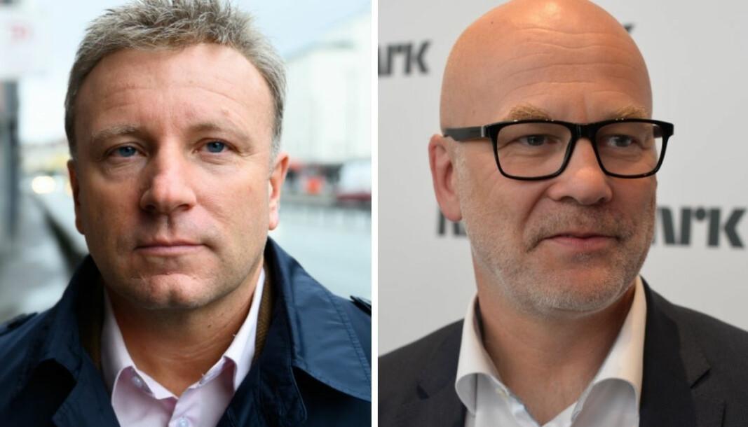 Sjefredaktør Vebjørn Selbekk i Dagen og kringkastingssjef Thor Gjermund Eriksen i NRK.