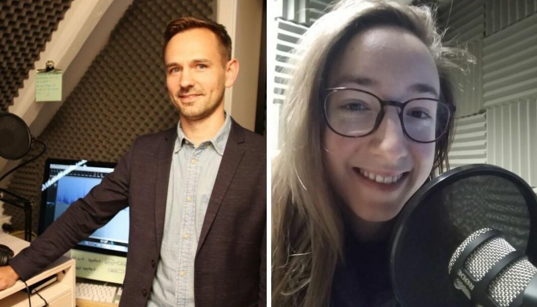 Markedssjef Gregor Falkner (til venstre) og Sofie May Rånes vil bytte på å være programleder i den nye podkasten.