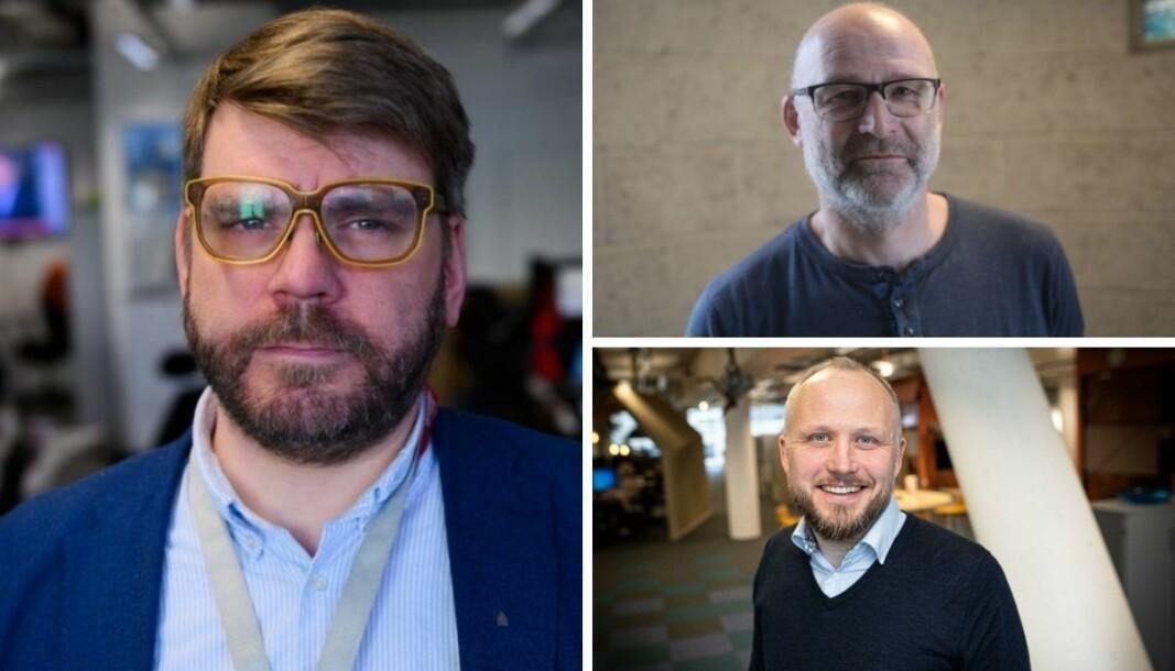 Sjefredaktør i Bergensavisen, Sigvald Sveinbjørnsson , sjefredaktør i Avisa Hordaland, Geir Geitle, og regionredaktør i NRK Vest, Rune Møklebust.