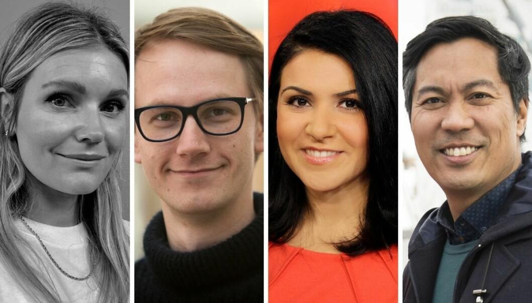 Kulturjournalist i NRK, Linda Marie Vedeler, journalist i NRK Beta, Martin Gundersen, Dagsrevyen-anker i NRK, Rima Iraki og programleder for Sløsesjokket på NRK, Christian Strand.