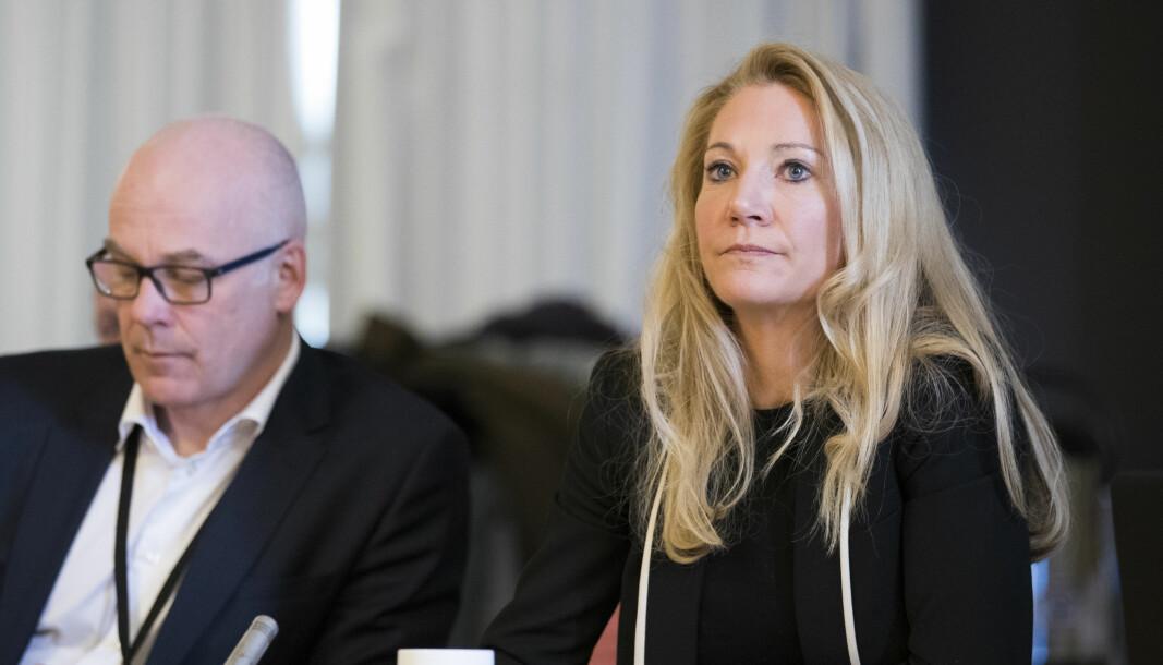 Kringkastingssjef Thor Gjermund Eriksen og rådsleder Julie Brodtkorb.
