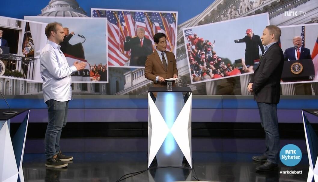 Mímir Kristjánsson og Helge Lurås debatterte Donald Trump i NRKs Debatten 7.januar.