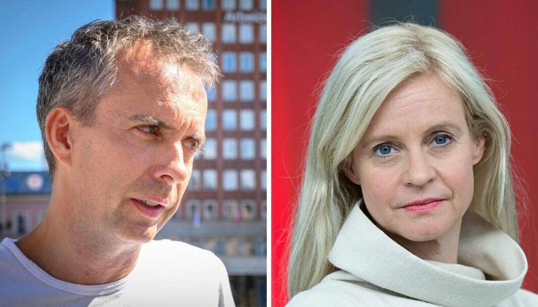 Kommunikasjonssjef Jarle Roheim Håkonsen i Arbeiderpartiets stortingsgruppe og nyhetsredaktør i TV 2, Karianne Solbrække.