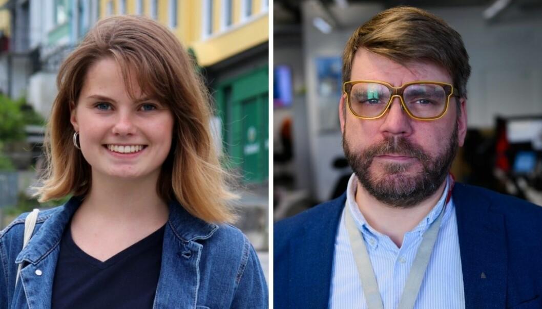 Josefine Gjerde, 2. kandidat for MDG Hordaland, og sjefredaktør i BA, Sigvald Sveinbjørnsson.