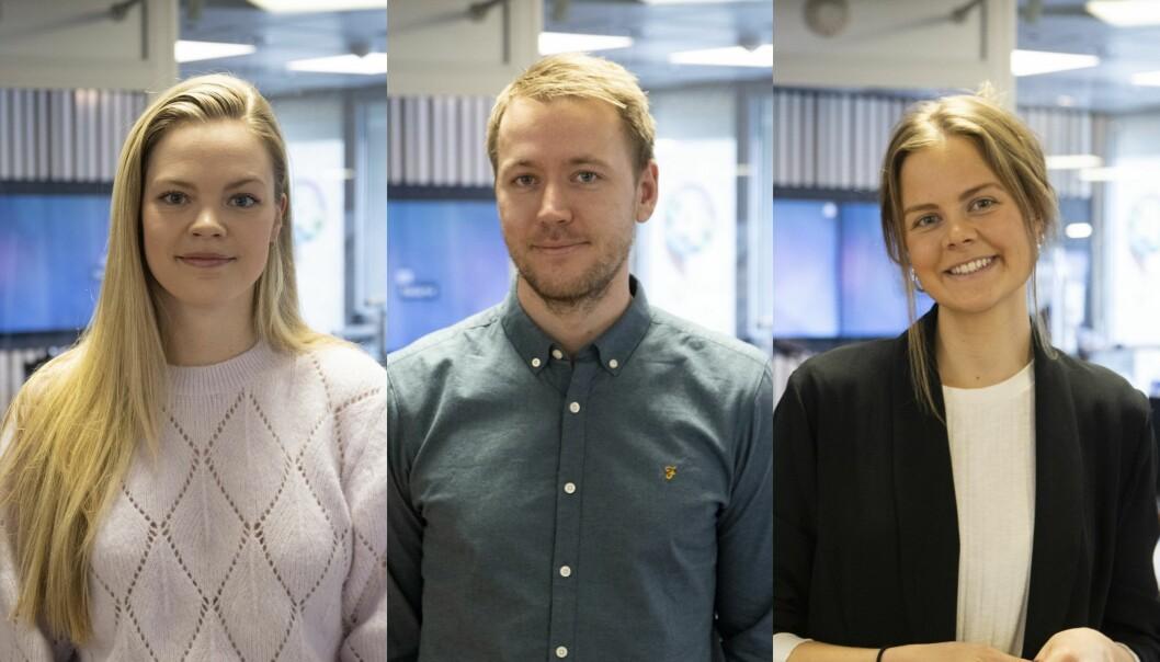 Hannah Kolås (til venstre), Jon Schjerpen og Ida Gjellerud er alle ansatt i P4s nyhetsredaksjon.