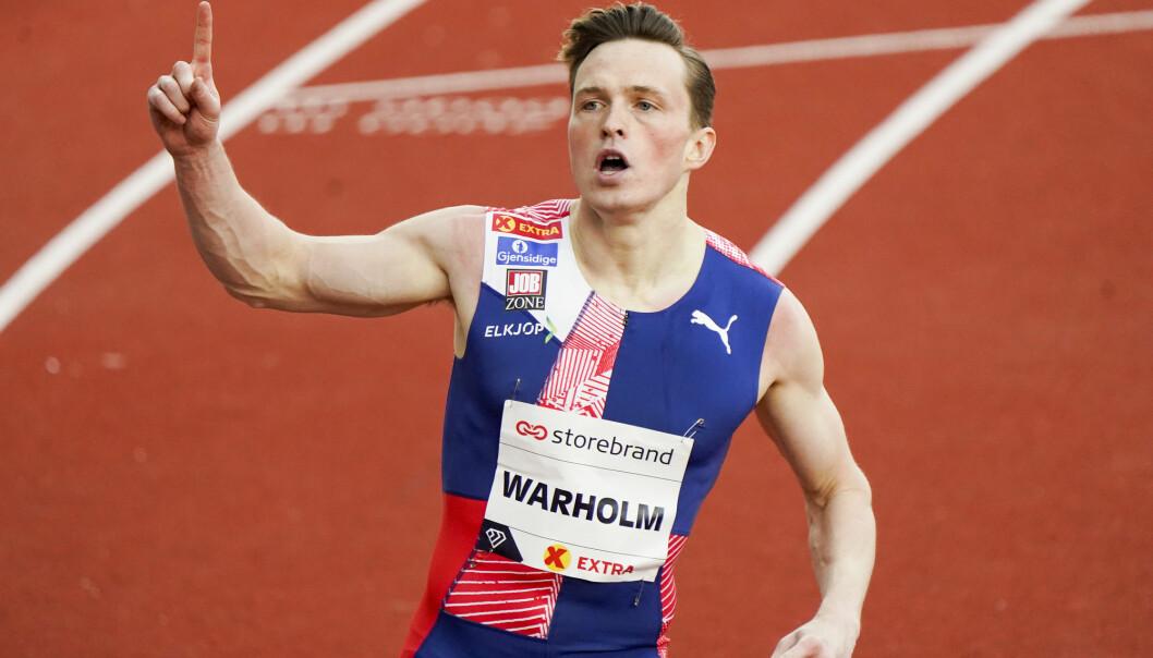 Karsten Warholm - her etter 300m hekk for menn under Impossible Games 2020 på Bislett.