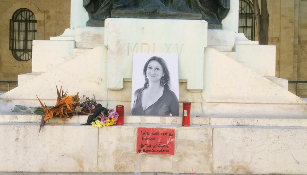 Et minnesmerke over den avdøde gravejournalisten Daphne Caruana Galizia på Malta.