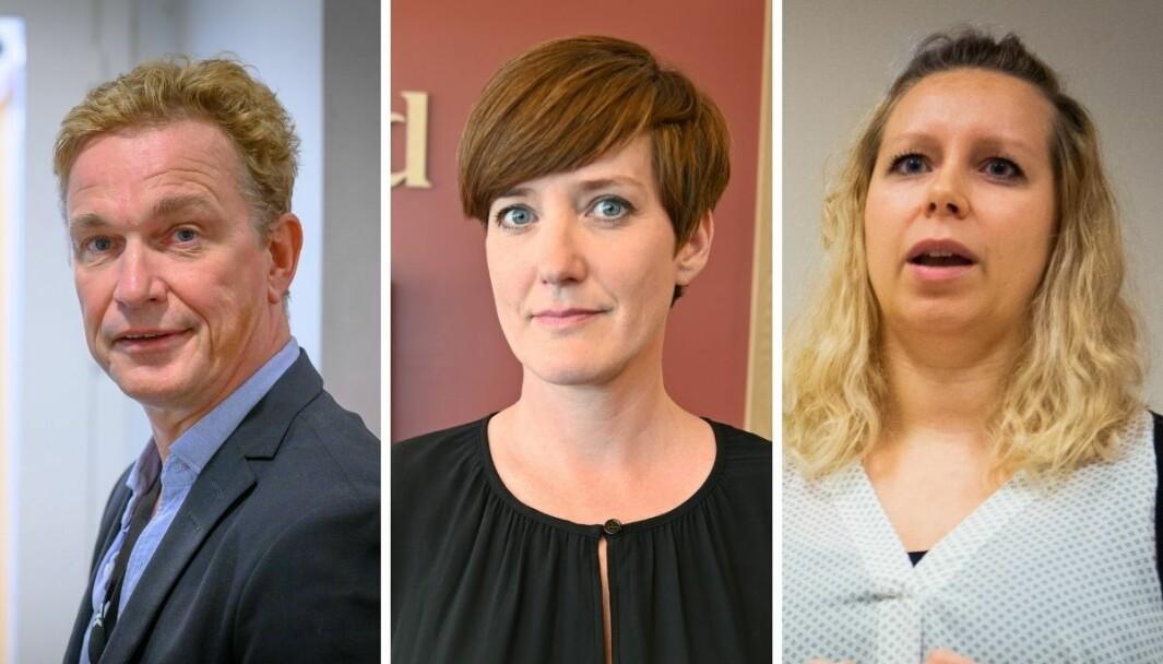 Espen Olsen Langfeldt, redaktør i NRK Direkte, nyhetsredaktør i Vårt Land, Veslemøy Østrem og nyhetsleder i Nettavisen, Carina Bredesen.