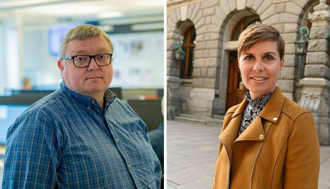 Redaktør Ole Petter Pedersen (til venstre) og NJ-advokat Ina Lindahl Nyrud.