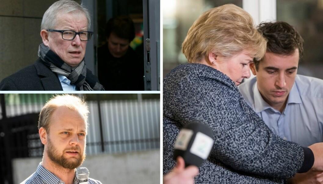 Rødt-politiker Mímir Kristjánsson, mediekritiker Bernt Olufsen, statsminister Erna Solberg og statssekretær ved Statsministerenskontor.