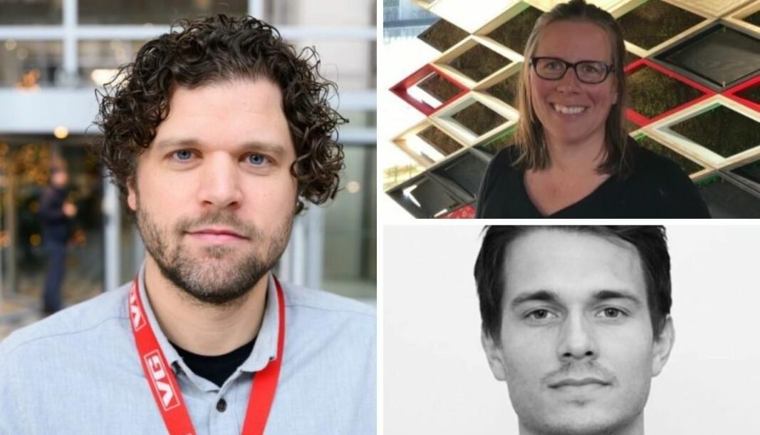 Sportssjef i VG, Eirik Borud, redaksjonsleder i NRK, Janne Fredriksen og sportssjef i Dagbladet, Fredrik Økstad Sandberg