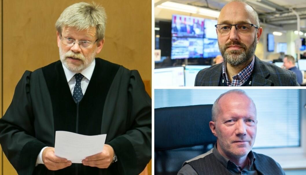 Leder for valglovutvalget, Ørnulf Røhnebæk, ansvarlig redaktør i NTB, Mads Yngve Storvik og generalsekretær i Norsk Redaktørforening, Arne Jensen.
