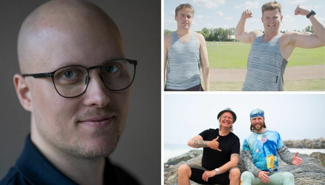 Spaltist Andreas Ryen Eidem (til venstre) skriver om guttastemning-programmer som Helt Ramme Sporter og Aune og Alex.