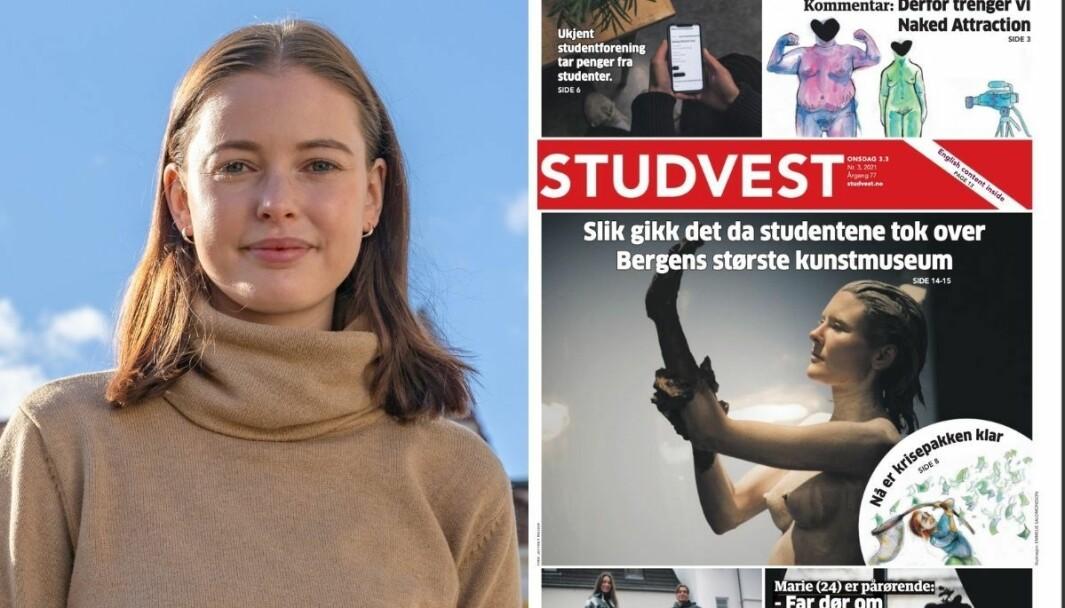Studvest-redaktør Elina Hjønnevåg forstår lite av at distributøren deres sa opp avtalen med avisen, fordi han ikke likte forsidevalget deres.