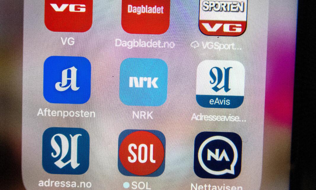 Norske avis-apper på mobiltelefon.