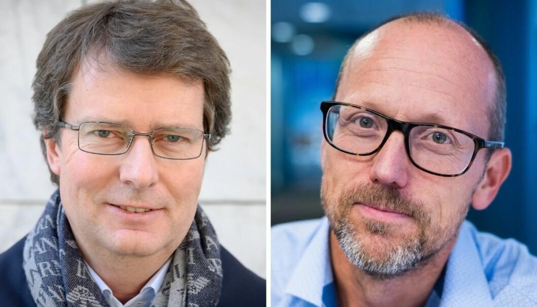Konsernsjefene Per Axel Koch og Per Magne Tveiten i henholdsvis Polaris Media og Mentor Medier, er fornøyde med at de to konsernene fra nå av skal samarbeide.