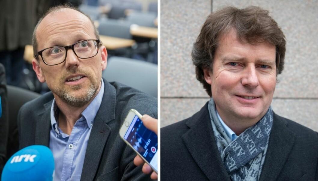 Konsernsjef i Mentor Medier Per Magne Tveiten og konsernsjef Per Axel Koch i Polaris Media.