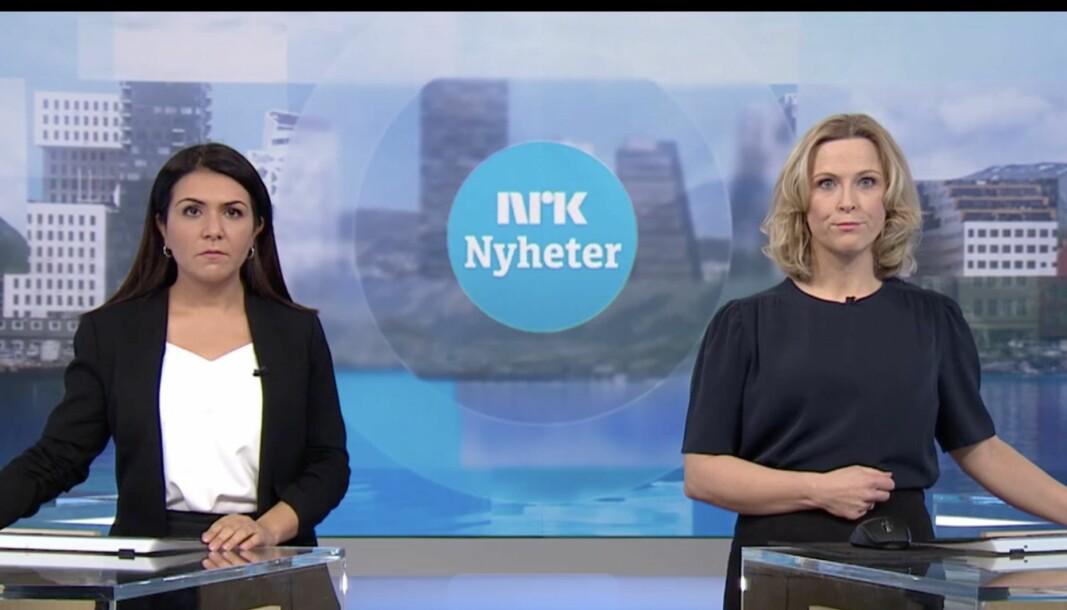Dagsrevyen-anker Rima Iraki og NRK Nyheter-anker Eline Buvarp Aardal.