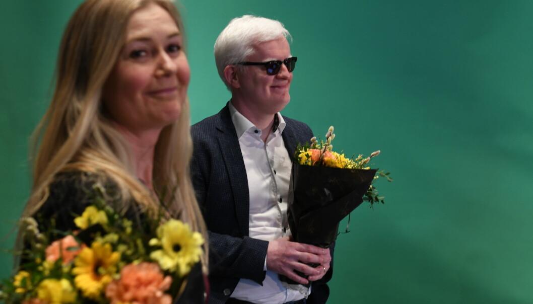 Ny leder for Norsk Journalistlag Dag Idar Tryggestad og ny nestleder Hege Fagerheim. Her fra det digitale landsmøtet til NJ.