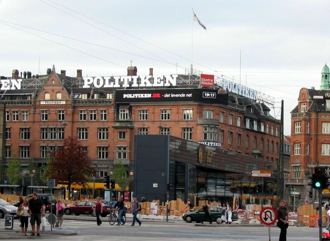 Logoene til avisene Politiken og Ekstra Bladet i København.