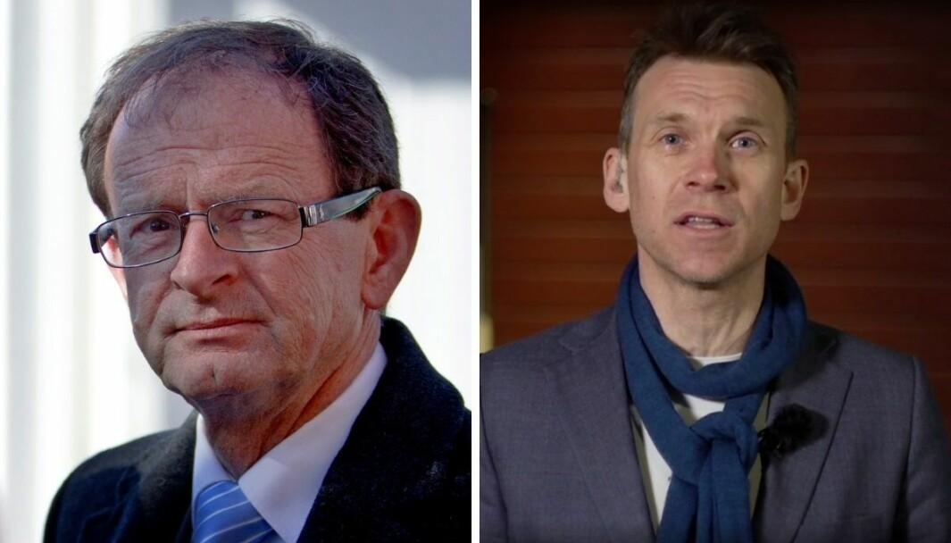 Tidligere Oslo-byråd og nestleder i Høyre Erling Lae og TV 2s politiske kommentator Aslak Eriksrud.
