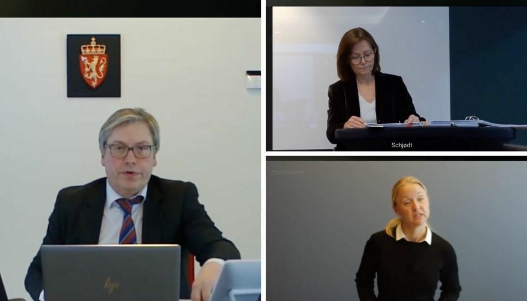 Sorenskriver Ivar K. Iversen, advokat for Polaris, Cecilie Amdal i Schjødt, og advokat for LL Inntrøndelagen, Hedvig Bugge Reiersen i Wikborg Rein