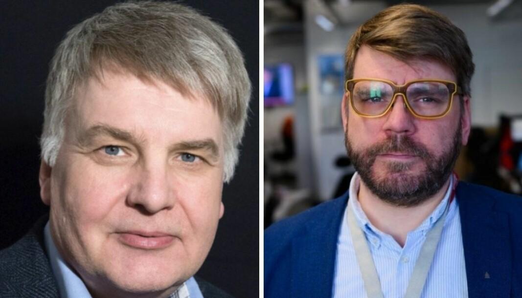 Redaktør Erik Sønstelie i Oppland Arbeiderblad og sjefredaktør i Bergensavisen, Sigvald Sveinbjørnsson.