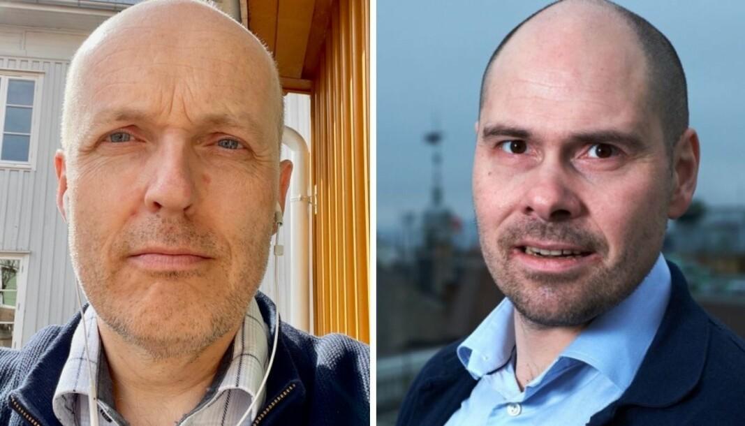 NJ-tillitsvalgt i Amedia, Lars Døvle Larsen (t.v) er ikke fornøyd med lønnssituasjonen i konsernet.