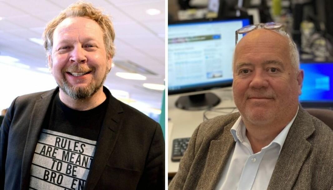 Ansvarlig redaktør i Drammens Tidende, Espen Sandli og ansvarlig redaktør i Tønsberg Blad, Sigmund Kydland