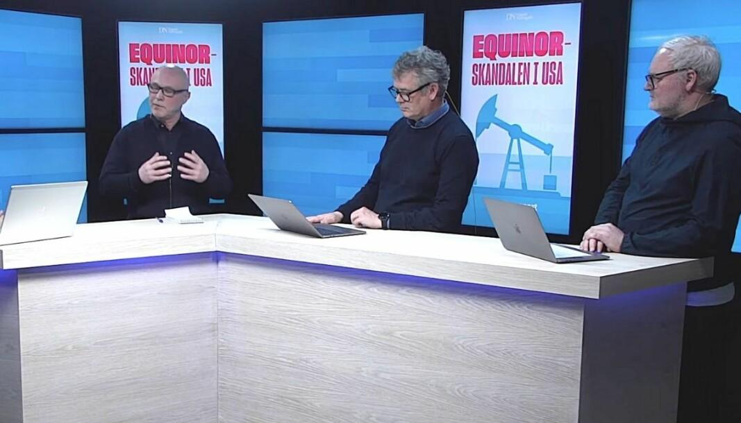 Finansredaktør i DN, Terje Erikstad, og gravejournalistene Morten Ånestad og Lars Backe Madsen fortalte om Equinor-avsløringen på torsdagens SKUP-konferanse.