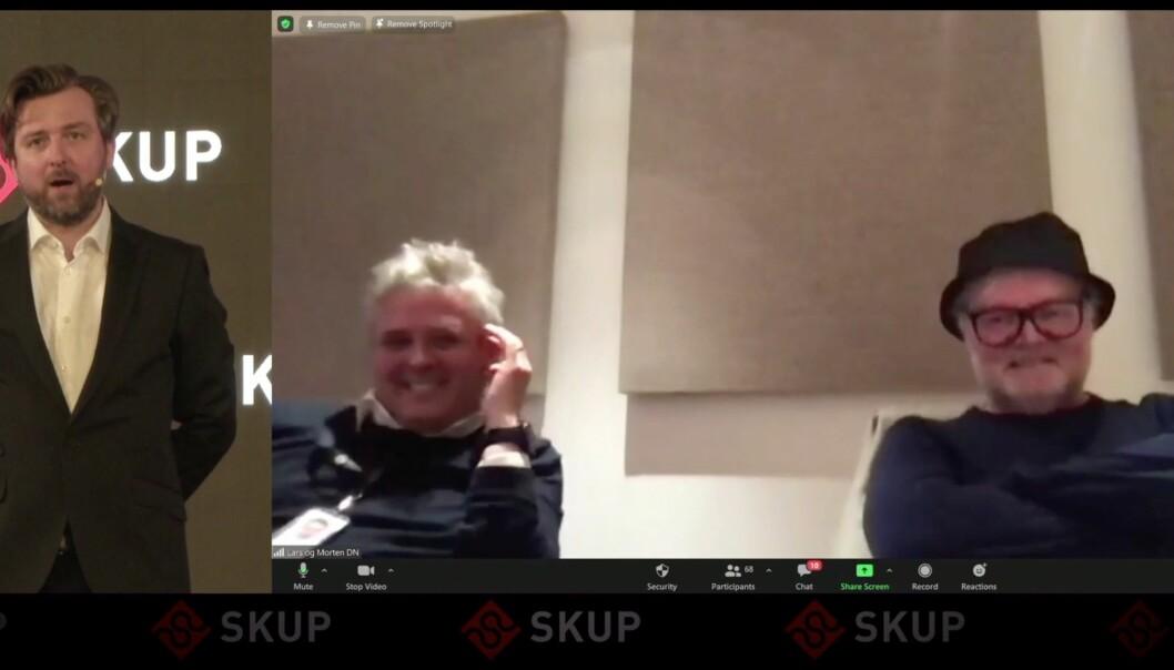 DN-journalistene Morten Ånestad og Lars Backe Madsen var naturligvis svært godt fornøyde med å vinne årets SKUP-pris.
