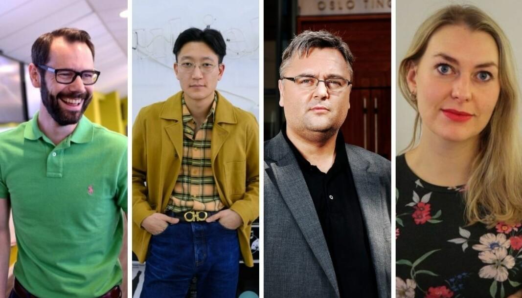 Disse fire redaktørene håper å få innvilget pressestøtte. Fra venstre: Tom Erik Thorsen (Varden), Danby Choi (Subjekt), Kjetil Stormark (Aldrimer.no) og Vanja S. Holst (Nidaros)
