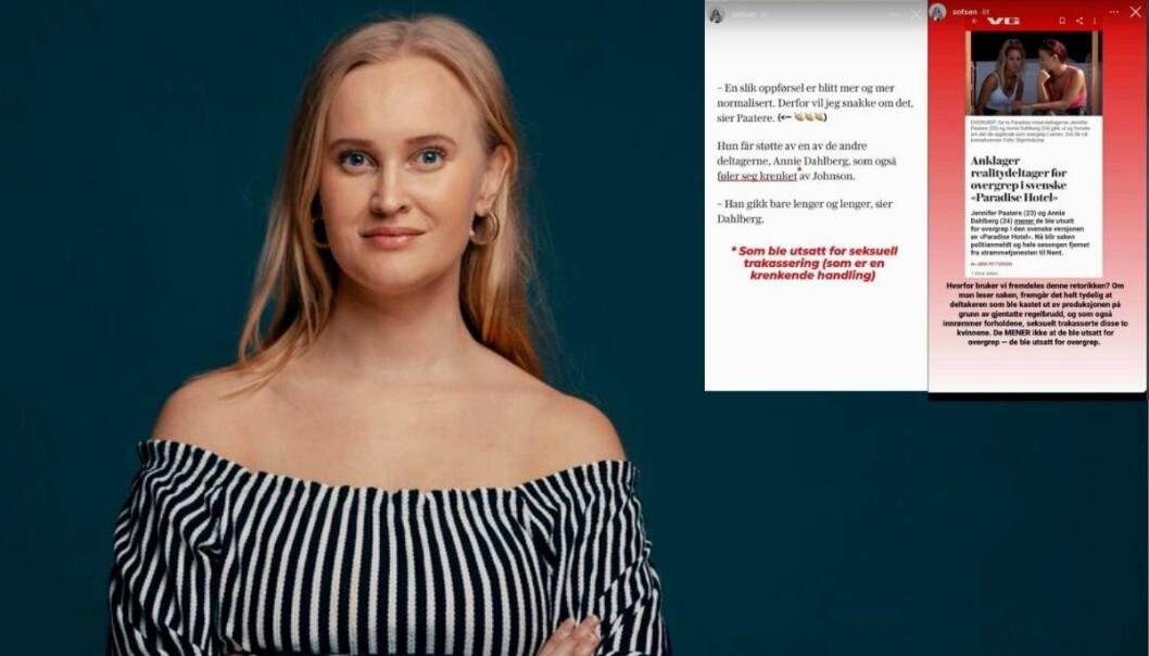 Komiker og forfatter Sofie Frøysaa reagerer på VGs retorikk i saken om anklager om overgrep i svenske Paradise Hotel.