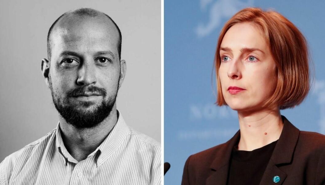 Klassekampens nyhetsredaktør, Simen Tallaksen kritiserer næringsminister Iselin Nybø (V). Nybø avfeier kritikken.