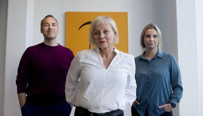 Disse er programledere for den nye podden. Fra venstre: Rune Christophersen, Kjersti Mjør og Anna Magnus.