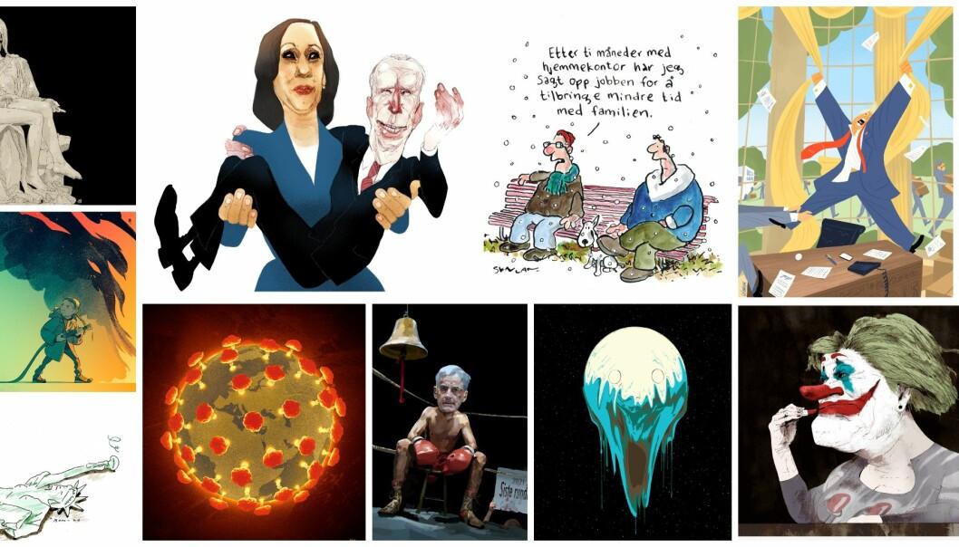 Disse tegningene er blant dem som kan bli kåret til «Årets avistegning».