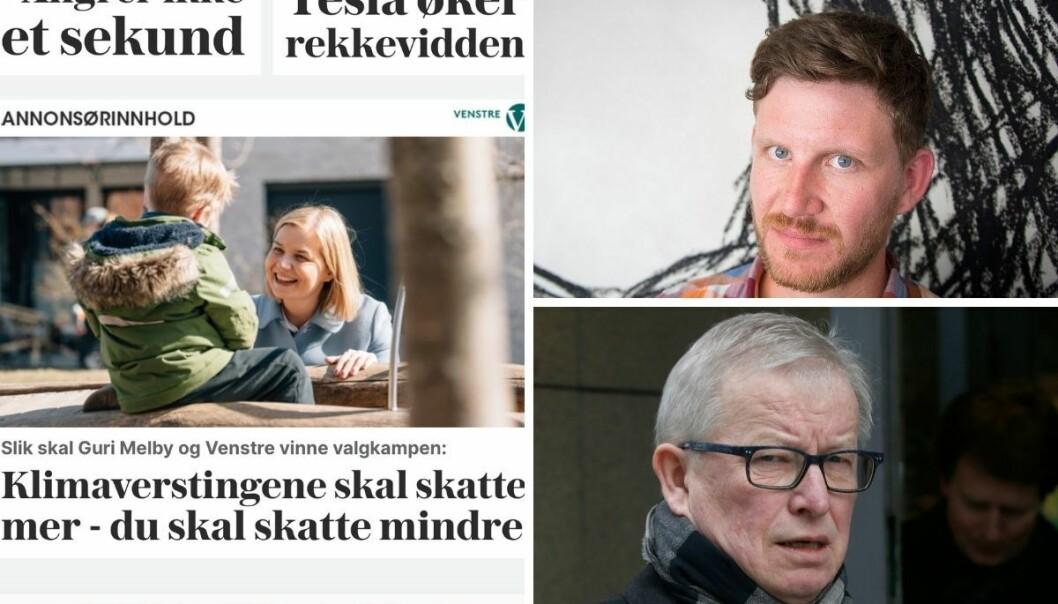 BT-kommentator Jens Kihl og tidligere ansvarlig redaktør i VG, Bernt Olufsen, mener VG burde merke politisk annonsørinnhold tydeligere.