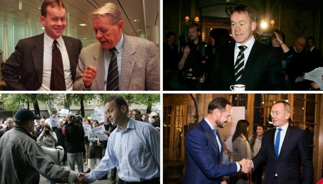 Øverst fra venstre: Amund Djuve avbildet da han tok over DN-redaktør for Kåre Valebrokk i 1999, under MBLs fremlegging av opplagstallene i 2007, da DN-journalistene streiket i 2004 og da han møtte Kronprins Haakon i forbindelse med utdelingen av Årets Gasellepris i 2017.