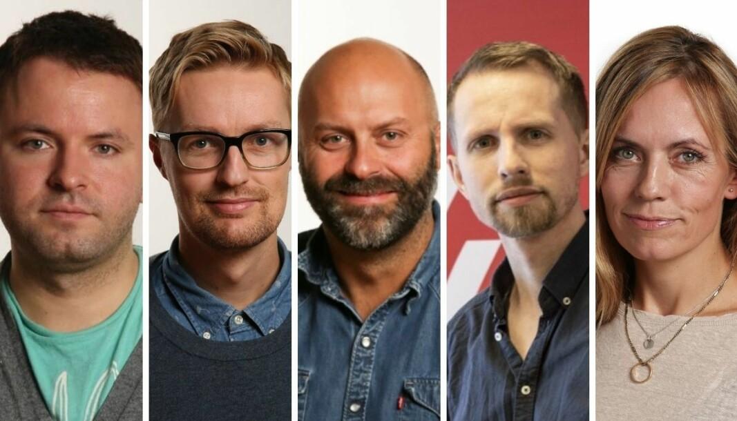 Redaktørkollegiet i Nordlys: Magnus Aamo Holte (fra venstre), Rune Endresen, Thor Harald Henriksen, Helge Nitteberg og Sissel Wessel-Hansen.
