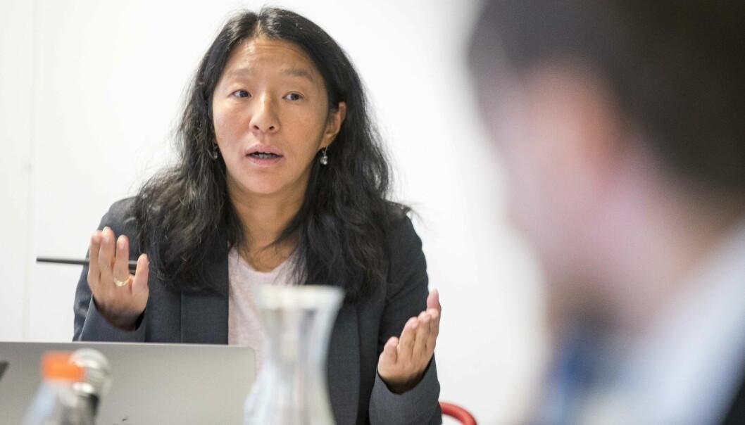 Pressens Faglige Utvalg-leder Anne Weider Aasen avbildet under et møte i 2019.