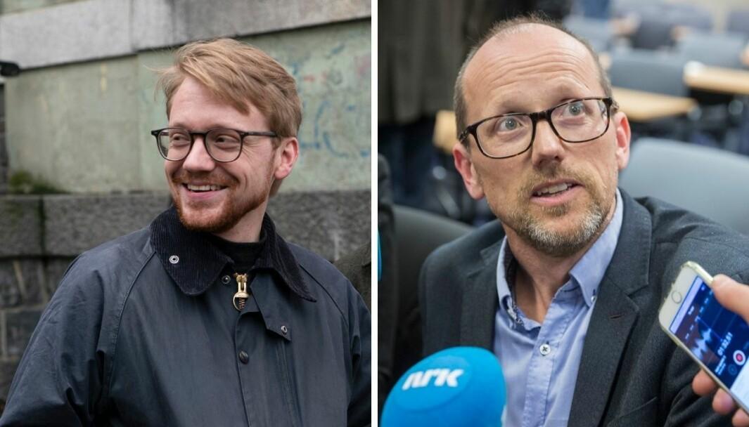 Leder Hans Christian Paulsen for redaksjonsklubben i Vårt Land og konsernsjef i Mentor Medier Per Magne Tveiten.