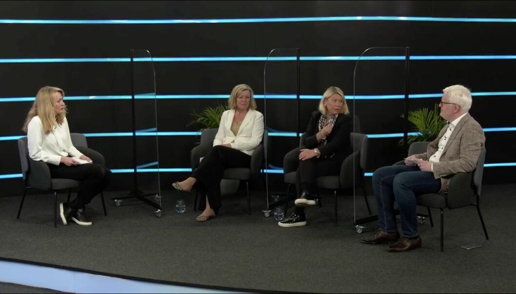 Justiminister Monica Mæland (H) var blant deltakerne i en paneldebatt om pressefrihet mandag morgen. Det var også Aftenpostens Tone Tveøy-Strøm Gundersen og NJs Dag Idar Tryggestad.