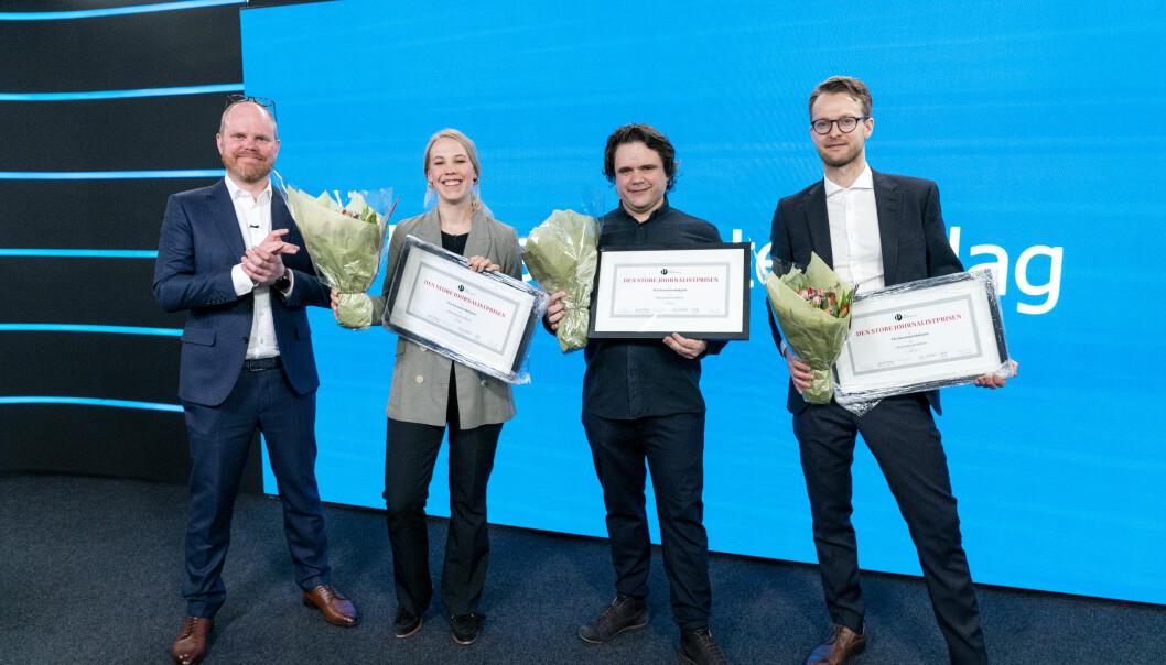 Den store journalistprisen gikk i år til VG. (f.v) Gard Steiro, Oda Leraan Skjetne, Jari Bakken og Sondre Nilsen som mottar prisen på vegne av VG.